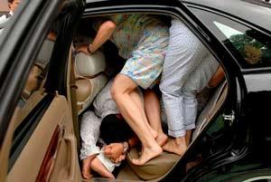 много людей в машине